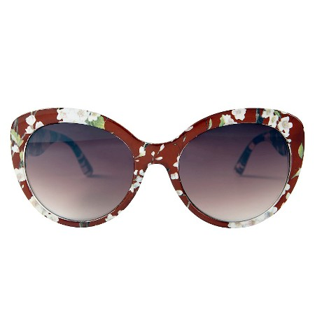 1951ace1a44 Women  39 s Oversized Sunglasses with Flowers - Brown   Target