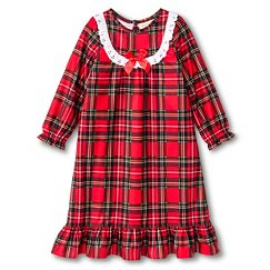 Toddler Girls' St. Eve Peas & Carrots Plaid Long Sleeve Nightgown Red