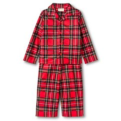 Toddler Boys' St. Eve Peas & Carrots Plaid Button Up Long Sleeve 2-Piece Pajama Set Red