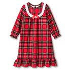 Toddler Girls' St. Eve Peas & Carrots Plaid Long Sleeve Nightgown Red 4T