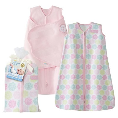 HALO SleepSack 100% Cotton Two-Piece Gift Set - Pink Flowers