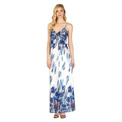 Women's Placed Print Maxi Dress White/Black 14 - Sami & Dani