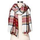 Women's Cozy Plaid Blanket Wrap Scarf White Red - Merona™