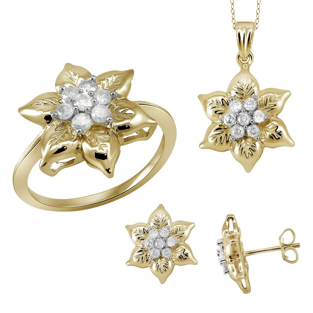 1.00 CT. T.W. Round-Cut White Diamond Earring Pendant and Ring Flower Set - Yellow (18) (7), Women's