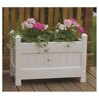 "Dura-Trel Square 16"" x 19"" Floor Planter Box - White"