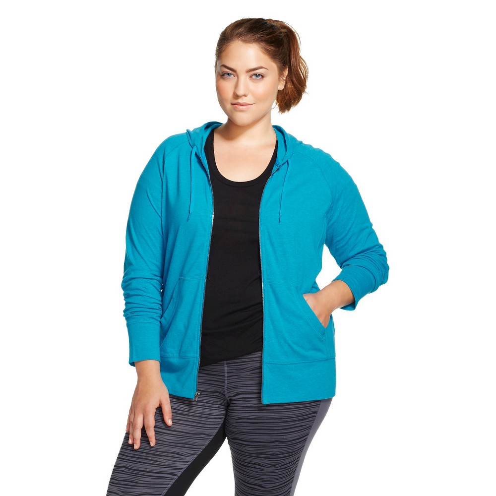 C9 Champion Women's Plus Size Active Hoodie Underwater Blue 1X