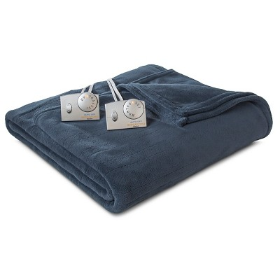 Biddeford Microplush Heated Blanket - Indigo (Queen)