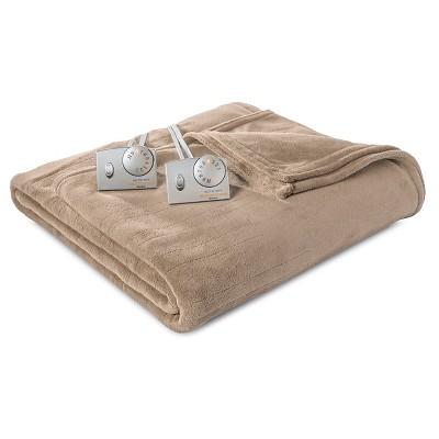 Biddeford Microplush Heated Blanket - Taupe (Queen)