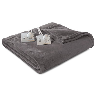 Biddeford Microplush Heated Blanket - Gray (Full)