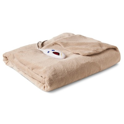 Biddeford Extra Long Microplush Heated Throw Tan