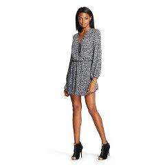 Women's Long Sleeve Wrap Dress Black & White - Leyden
