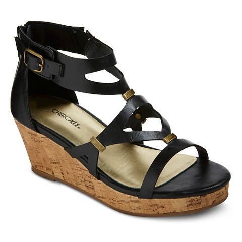 84613c3e008 Girl s Hadison Wedge Gladiator Sandals - Black   Target