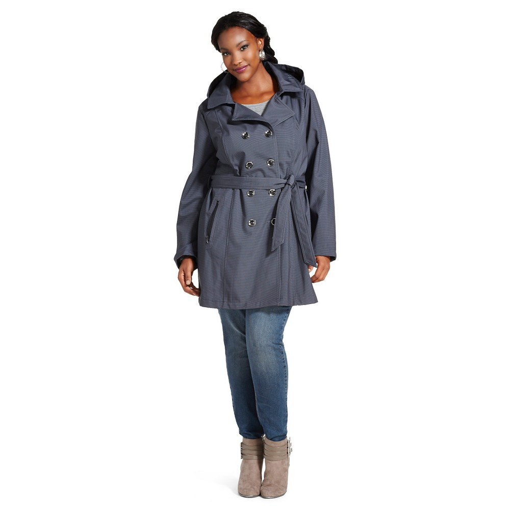 Women's Plus Size Houndstooth Soft Shell Trench Coat Grey - Stolen Hearts