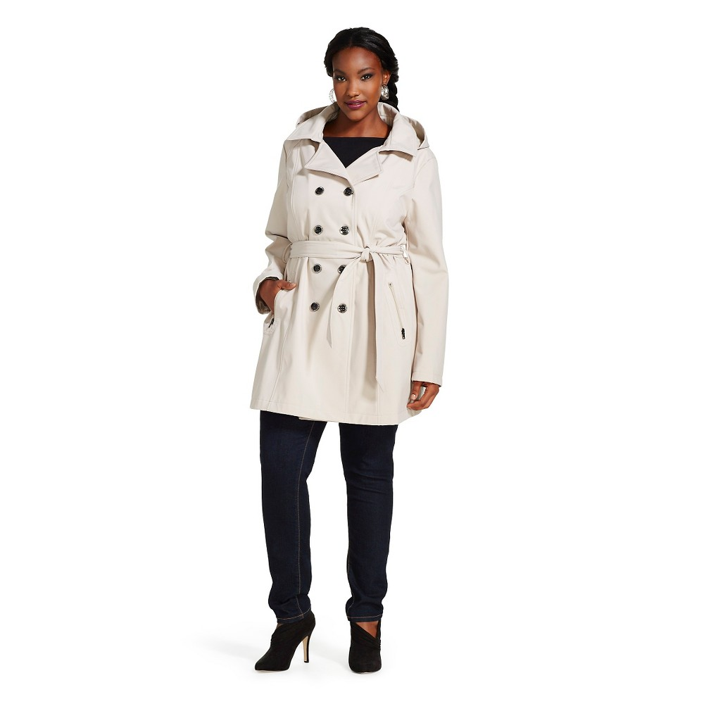 Women's Plus Size Soft Shell Trench Coat Stone (Grey) - Stolen Hearts