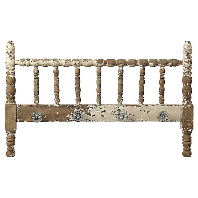 Spindle Headboard with Knobs - Distressed White