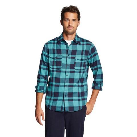 Men 39 s button down shirt teal plaid merona target for Mens teal button down shirt