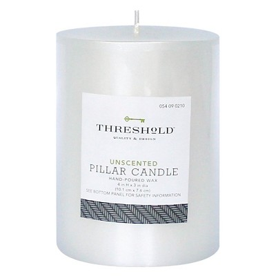 White Pearl Fragrance Free 3x4 Pillar Candle