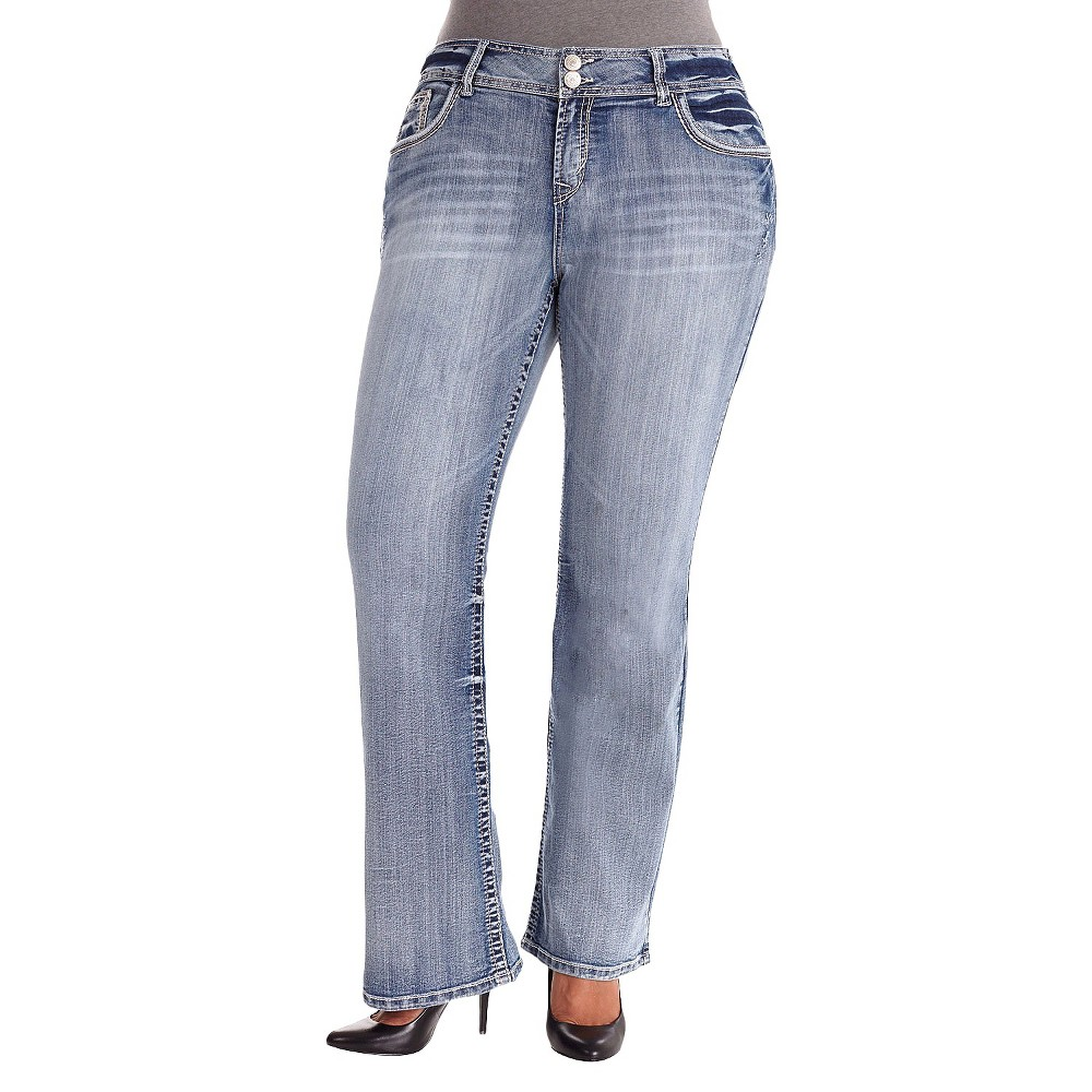 Plus Size Luscious Curvy Boot Cut Jeans Molly Wash-Wallflower