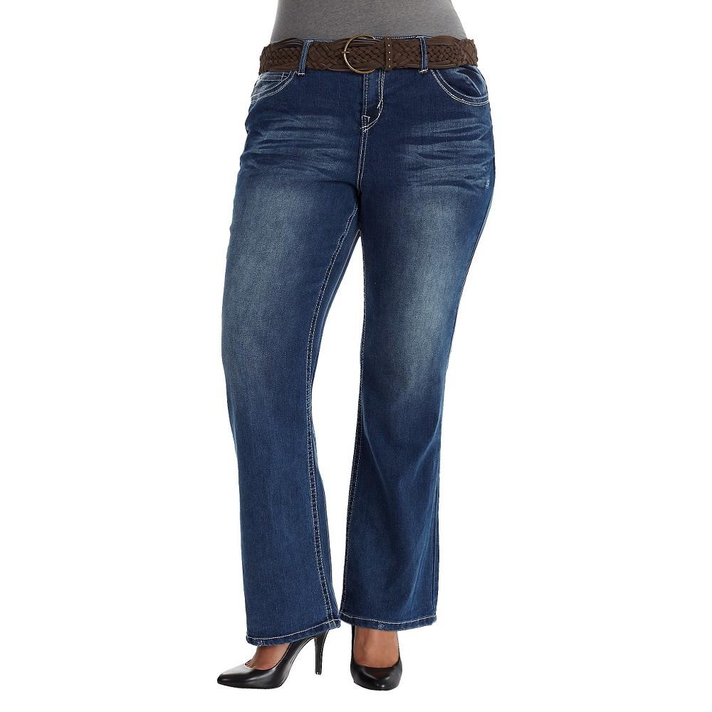 Plus Size Curvy Bootcut Jeans with Belt Dark Blue Wash 14W-Wallflower