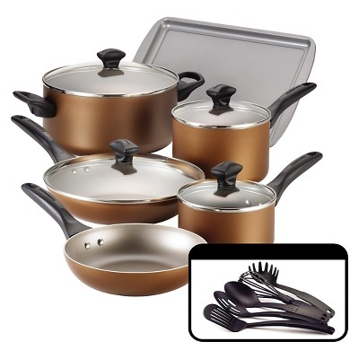 Farberware 15 Piece Cookware Set - Bronze