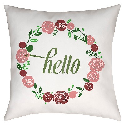 "Floral Greetings Throw Pillow - Red - 18"" x 18"" - Surya"