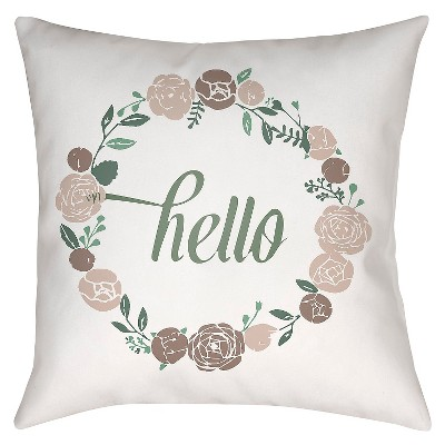 "Floral Greetings Throw Pillow - Grey - 18"" x 18"" - Surya"