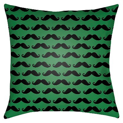 "Gentlemen's Stache Throw Pillow - Green - 18"" x 18"" - Surya"