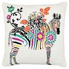 "Vue Zebra Embroidered Decorative Pillow - White (16""x16"")"
