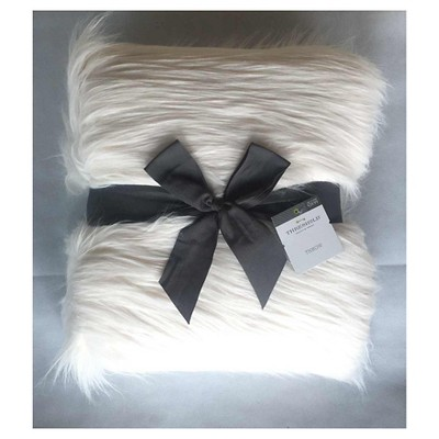 Threshold Long Haired White Fur Throw