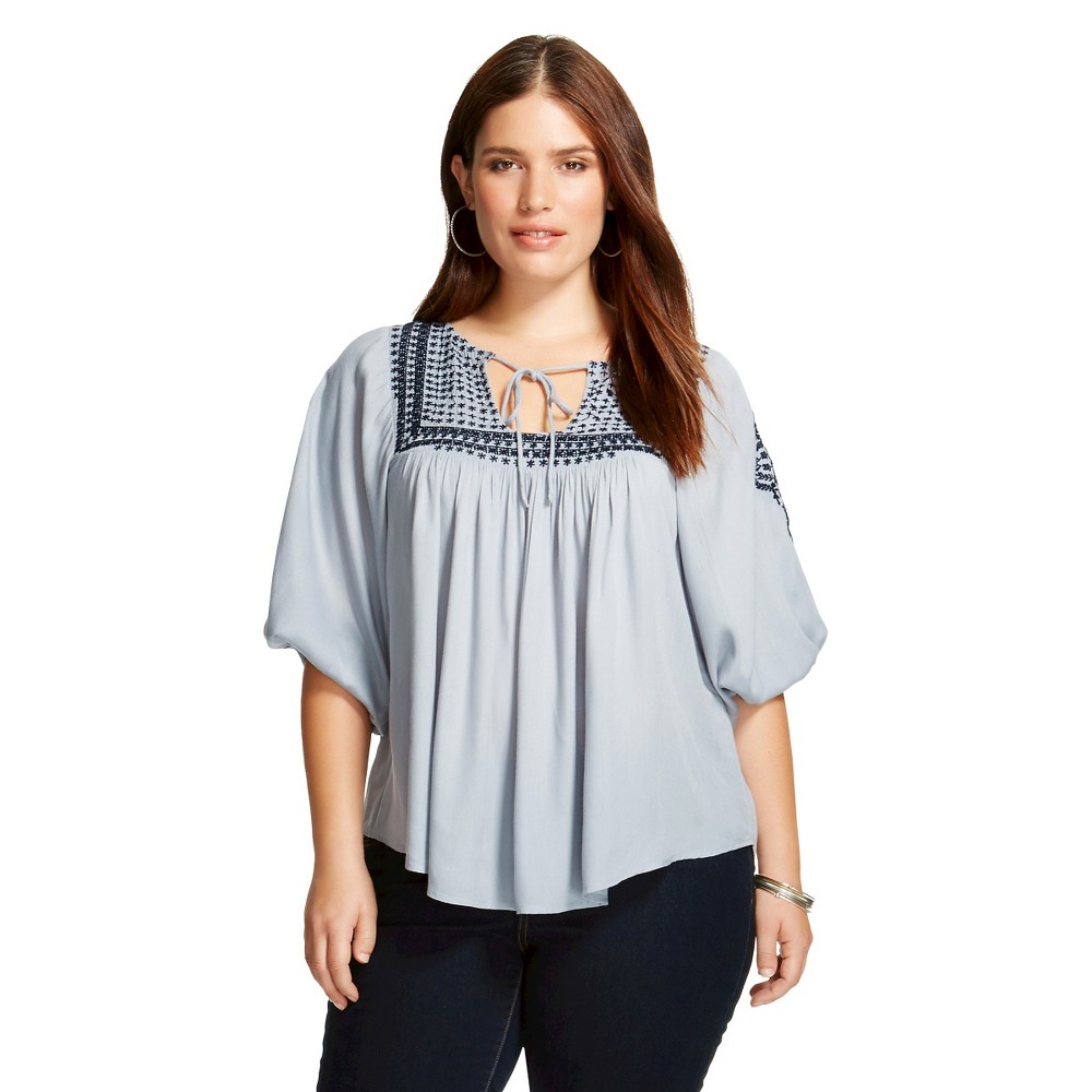 Women's Plus Size Embroidered Peasant Tunic Blue - inLuv