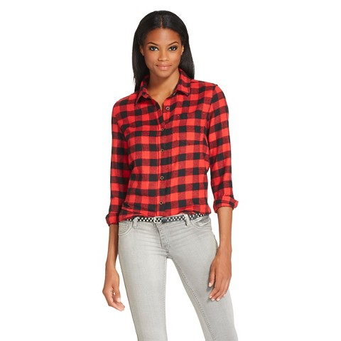 Women 39 s button down flannel shirt red black target for Womens christmas flannel shirt