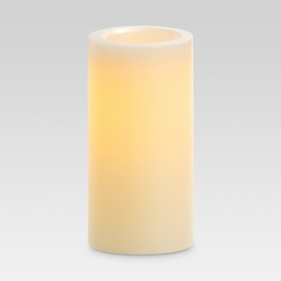 White 4x8 LED Pillar Candle with 5-hr Timer