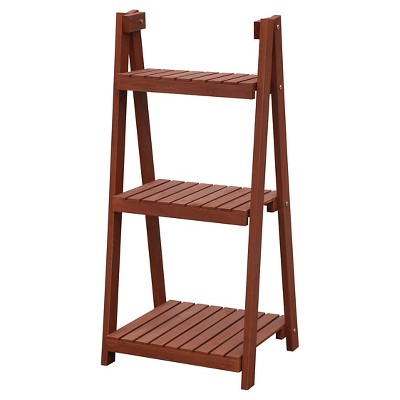 """Convenience 3 Tier Plant Stand Rectangle Brown - 14.5"""""""