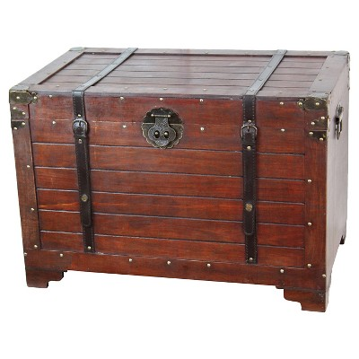 Old Fashioned Wood Storage Trunk Wooden Treasure Hope Chest - Quickway Imports