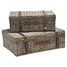 Wicker Storage Trunk Graywash Finish - Set of 2