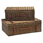 Wicker Storage Trunk Honey Finish - Set of 2