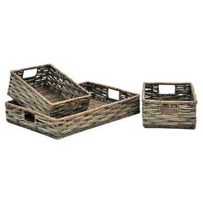Decorative Basket Set Metro Rattan Dark Grey Rectangle