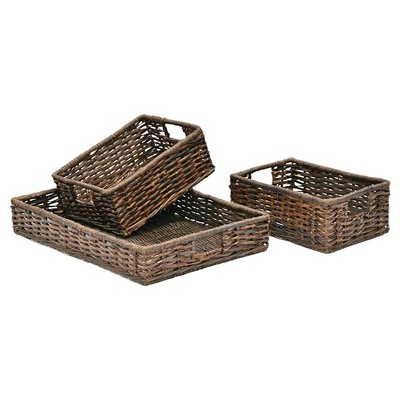 Decorative Basket Set Metro Rattan Brown Rectangle