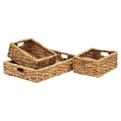 Decorative Basket Set Metro Seagrass Light Brown Rectangle