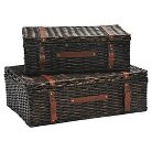 Rattan Wicker Storage Trunk Dark Brown Finish - Set of 2