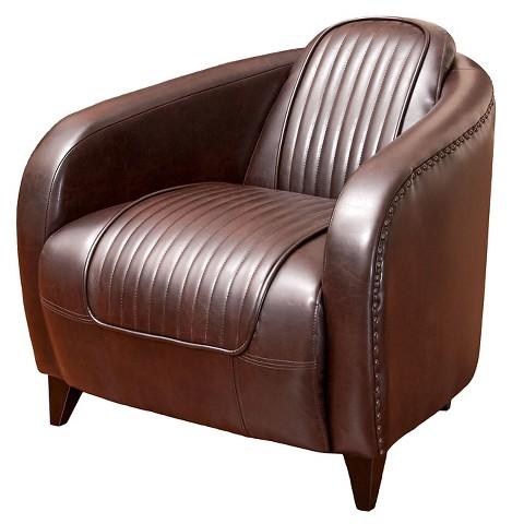 Pamela Channeled Brown Leather Club Chair Brow Tar