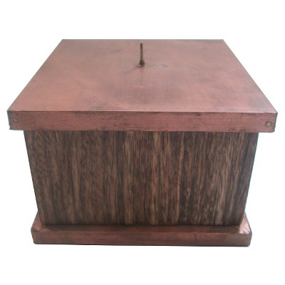 Wooden Texture Candle Holder with Copper Finish - Small - Threshold™