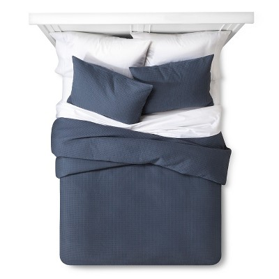 Waffle Weave Duvet Set King Ombre Blue - The Industrial Shop™
