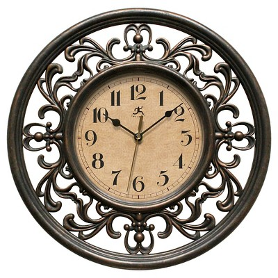 "Infinity Instruments Sofia Wall Clock - 12""D - Beige/Brown"