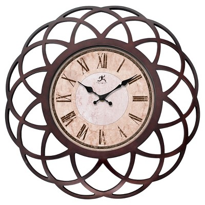 "Infinity Instruments Seville Wall Clock - 18""D - Dark Walnut/Beige"