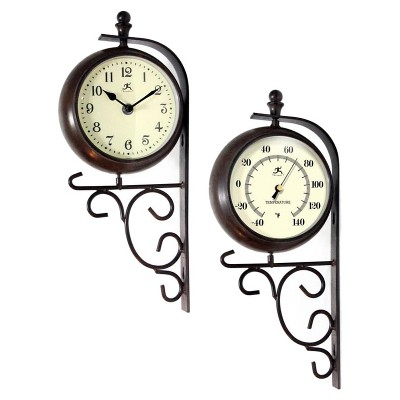 "Infinity Instruments Long Island 2-Sided Time and Weather Outdoor Clock - 15""Hx6.5""W - Brown/Beige"