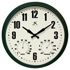 "Infinity Instruments Munich Time and Weather Outdoor Clock - 14""D - Dark Green"