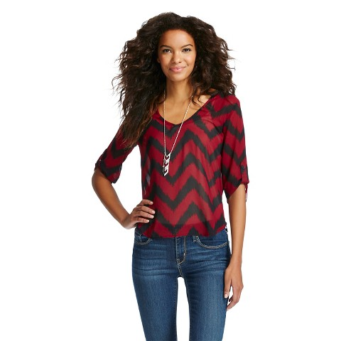 Fantastic Womenu0026#39;s Rolled Sleeve Chevron Blouse - 3Hearts  Target