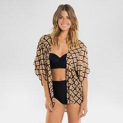 Women's Kimono Cover-Up Mocha Tribal - Tori Praver Seafoam