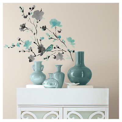 Med Decal Blossom Watercolor Bird Branch